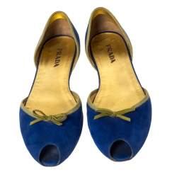 Prada Blue/Green Suede Peep Toe D'orsay Flats Size 41