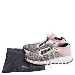 Prada Pink/Black Knit Fabric Prax 01 Knit Sneakers Size 37.5