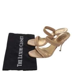 Prada Beige Matelasse Leather Open Toe Slide Sandals Size 36