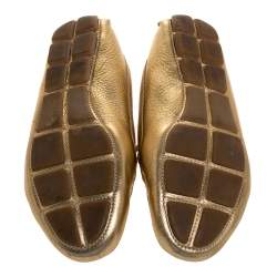 Prada Metallic Gold Leather Bow Slip On Loafers Size 37.5
