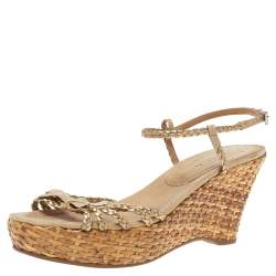 Prada Bronze/Beige Braided Leather And Woven Raffia Wedge Ankle Strap Sandals Size 39.5