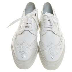 Prada White Wingtip Brogue Leather Platform Derby Size 39.5