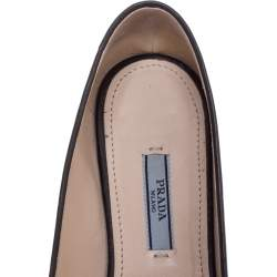 Prada Silver/Black Brogue Leather Pointed Toe Smoking Slippers Size 37