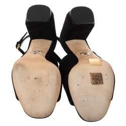 Prada Black Suede Slingback Block Heel Open Toe Sandals Size 37