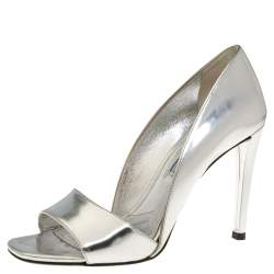 Prada Metallic Silver Leather Open Toe D'Orsay Sandals Size 37