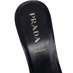 Prada Black Leather and Fabric Crochet Detail Slide Sandals Size 36