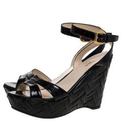 Prada Black Patent Leather Straw Wedge Ankle Wrap Sandals Size 39