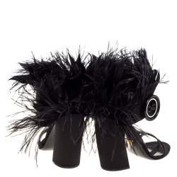 Prada Black Satin Ostrich Feather Trim Block Heel Sandals Size 40