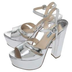 Prada Metallic Silver Leather Platform Block Heel Ankle Strap Sandals Size 40