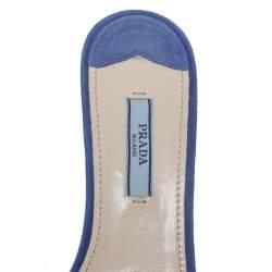 Prada Blue Suede Crystal Embellished Open Toe Sandals Size 37.5