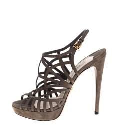Prada Grey Suede Caged Peep Toe Platform Slingback Sandals Size 38