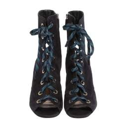 Prada Blue Suede Cut Out Lace Up Open Toe Block Heel Ankle Boots Size 40