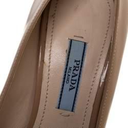 Prada Beige Patent Leather Platform Pumps Size 35.5