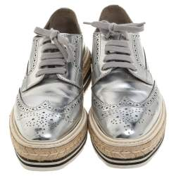 Prada Silver Glossy Brogue Leather Derby Espadrille Sneakers Size 39.5