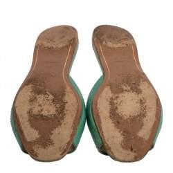 Prada Green Ayers Snake Leather Flat Slides Size 37