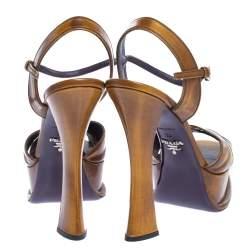Prada Brown Leather Cross Strap Open Toe Platform Ankle Strap Sandals Size 38