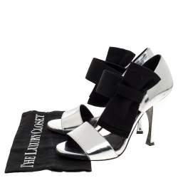 Prada Metallic Silver Leather Bow Embellished Elastic Strap Sandals Size 37.5