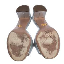 Prada Silver Saffiano Leather Block Heel Slide Sandals Size 39