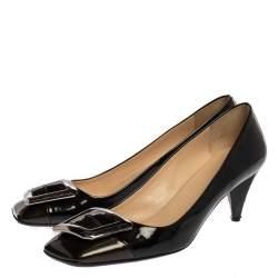 Prada Black Patent Leather Square Buckle Pumps Size 41