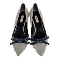 Prada Grey Patent Leather Bow Pointed Toe Pumps Size 39