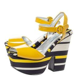 Prada Yellow Patent And Striped Satin Platform Wedge Ankle Strap Sandals Size 37.5