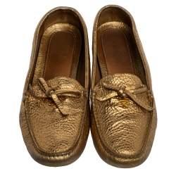 Prada Metallic Gold Leather Bow Slip On Loafers Size 39