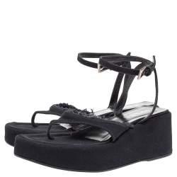 Prada Dark Blue Canvas Thong Platform Ankle Strap Sandals Size 39.5