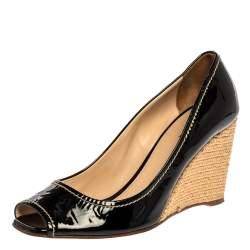 Prada Black Patent Open Toe Espadrille Wedge Pumps Size 38.5