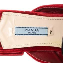 Prada Red/Black Velvet And Leather Fringe Buckle Embellished Pointed Toe Flat Mules Size 38.5
