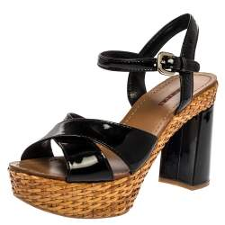 Prada Black Patent And Woven Raffia Platform Block Heel Sandals Size 39