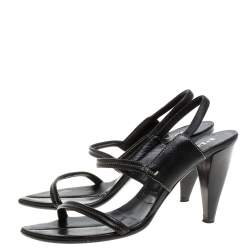 Prada Black Leather Slingback Sandals Size 38.5