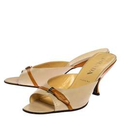 Prada Two Tone Leather Buckle Embellished Mule Sandals Size 38.5