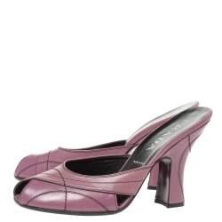 Prada Pastel Leather Stitch Detail Peep Toe Slide Mules Size 38.5
