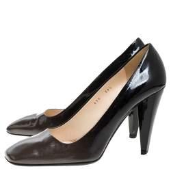 Prada Two Tone Patent Leather Square Toe Pumps Size 39.5