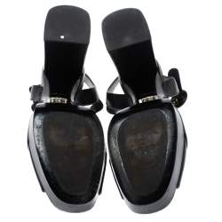 Prada Black Leather Block Heel Ankle Strap Platform Sandals Size 39