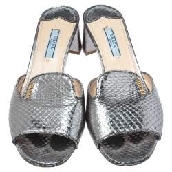 Prada Silver Python Embossed Leather Slide Sandals Size 38.5