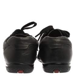 حذاء رياضي برادا سبورت رباط علوي طراز منخفض من أعلى جلد مخرم أسود مقاس 38