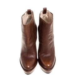 Prada Brown Leather Platofrm Heel Boots Size 39