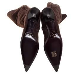 حذاء بوت للركبة برادا سويدي بني مقاس 38