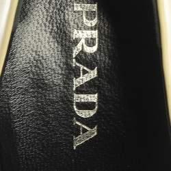 حذاء كعب عالي برادا جلد أصفر/أسود لامع بالشعار لوحة فضية مقدمة مربعة مقاس 39.5