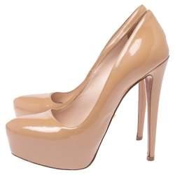 Prada Nude Beige Patent Leather Platform Pumps Size 36.5