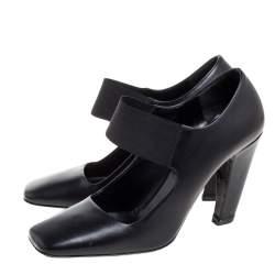 حذاء كعب عالي برادا ماري جين جلد أسود مقدمة مربعة مقاس 38