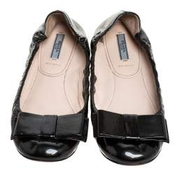 Prada Metallic Olive Green Patent Leather Bow Scrunch Ballet Flats Size 39.5