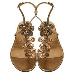 Prada Gold Leather Crystal Embellished Thong Sandals Size 38.5