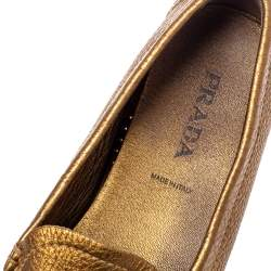 Prada Gold Leather Loafers Size 38.5