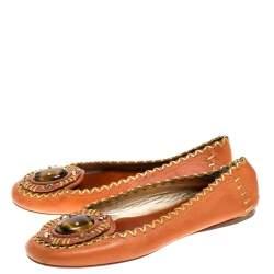 Prada Orange/Gold Leather Embellished Whipstitch Ballet Flats Size 36.5
