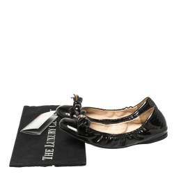 Prada Black Leather Bow Scrunch Ballet Flats Size 37
