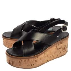 Prada Black Leather Crisscross Cork Wedge Sandals Size 39