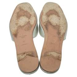 Prada Metallic Silver Saffiano  Leather Flat Slides Size 39