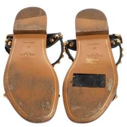 Prada Black Leather Studded T Strap Flat Sandals Size 35